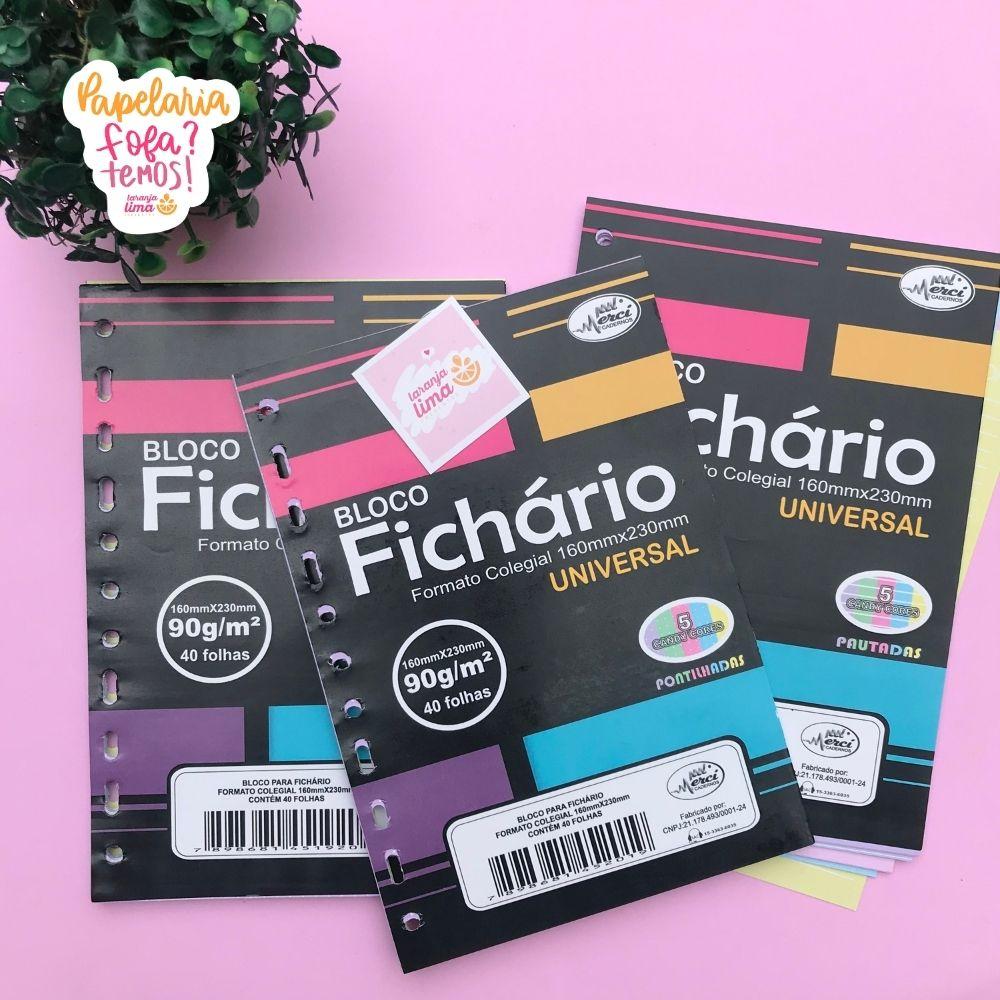 Folhas de Fichário Tamanho Colegial Papel Colorido Candy 90g Merci