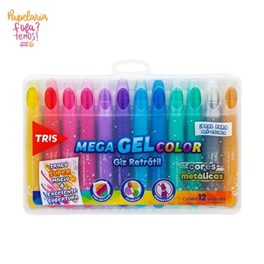 Giz Retrátil Tris Mega Gel Color Cores Metálicas 12 Cores