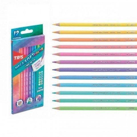 Lapis de Cor 12 Cores TRIS Mega Soft Color Tons Pasteis