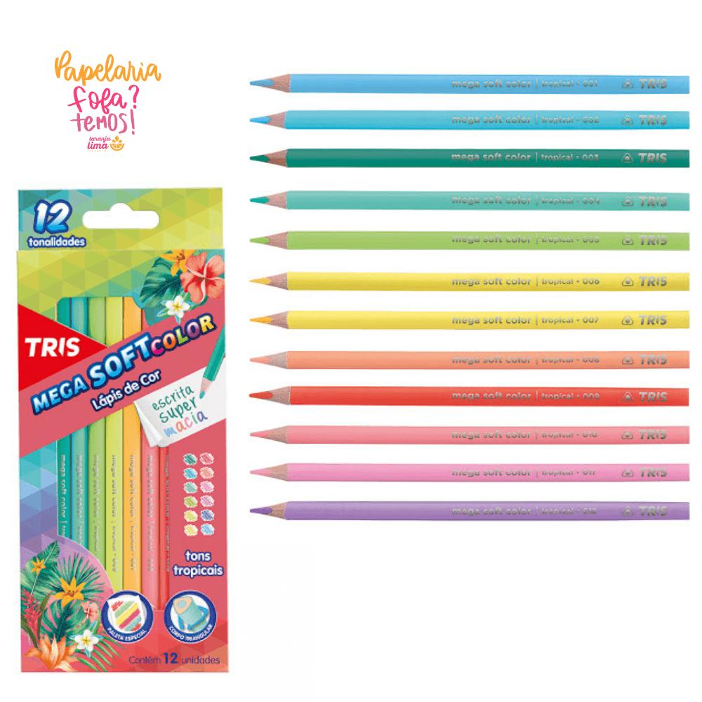 Lapis de Cor 12 Cores TRIS Mega Soft Color Tons Tropicais