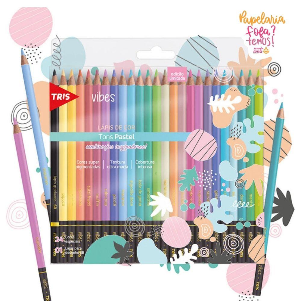 Lápis de Cor Tris Vibes Pastel 24 Cores