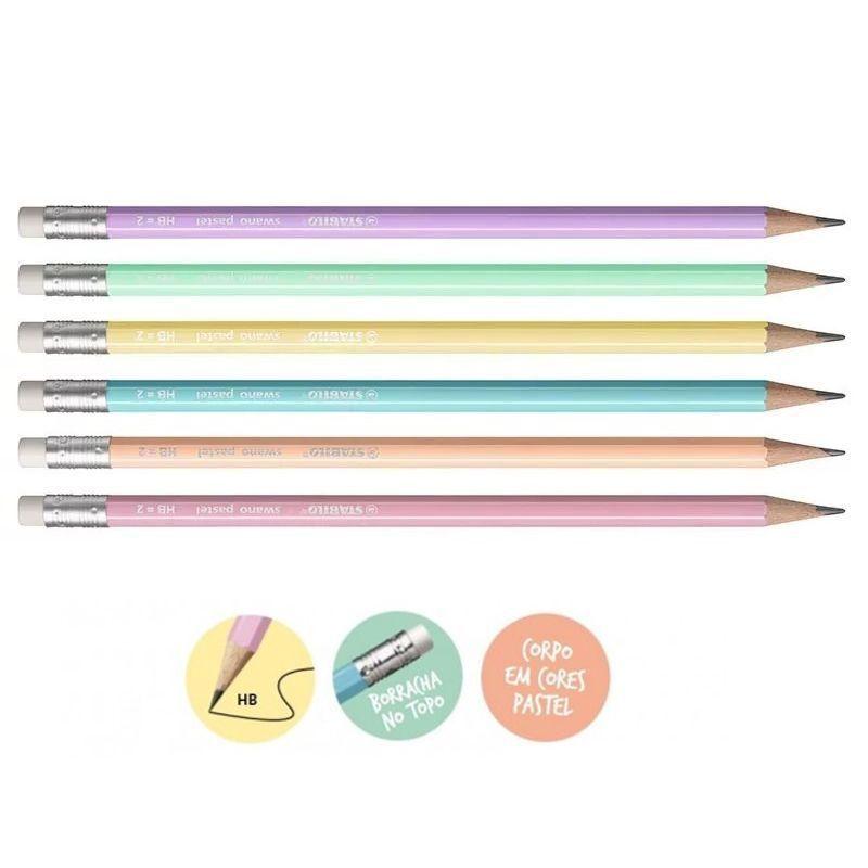 Lápis Swano Stabilo Pastel HB 2 Kit com 6 | Laranja Lima Papéis