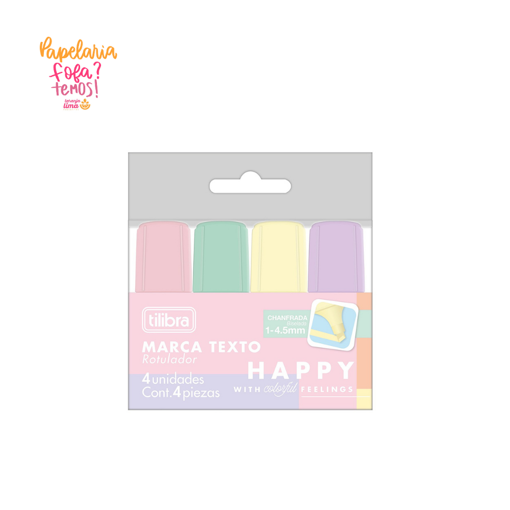 Marca Texto Pastel Mini Happy Tilibra Blister Com 4
