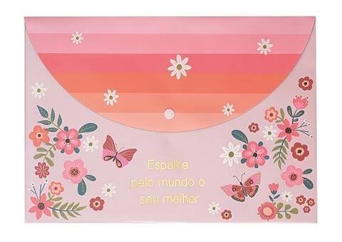 Pasta Envelope A4 Borboletas Molin Rosa