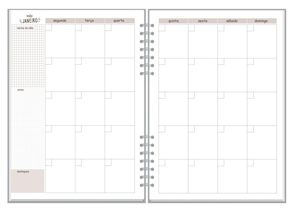 Planner Compacto Mensal Borboletas Fina Ideia