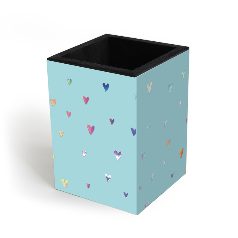 Porta Lápis Corações Holográficos Tiffany Fina Ideia
