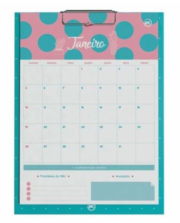 Prancheta Calendario Planner Permanente Cactos Dac