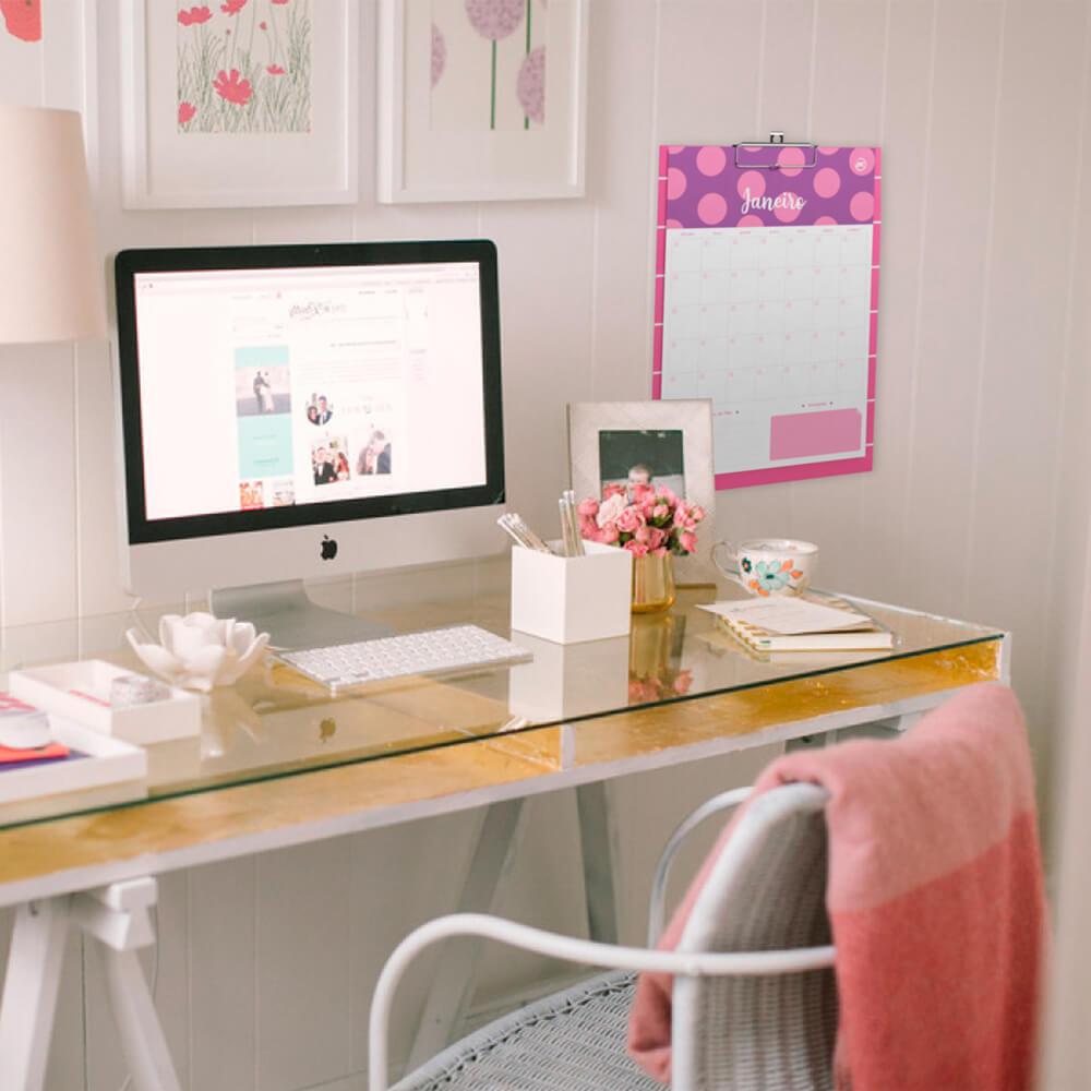 Prancheta Calendario Planner Permanente Pink DAC