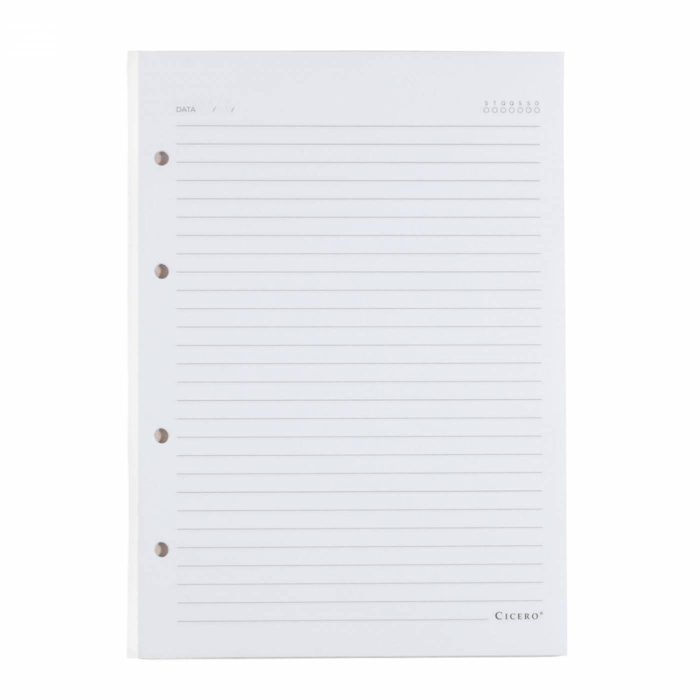 Refil Caderno Fichario Cicero Pautado Folha Branca 90gr