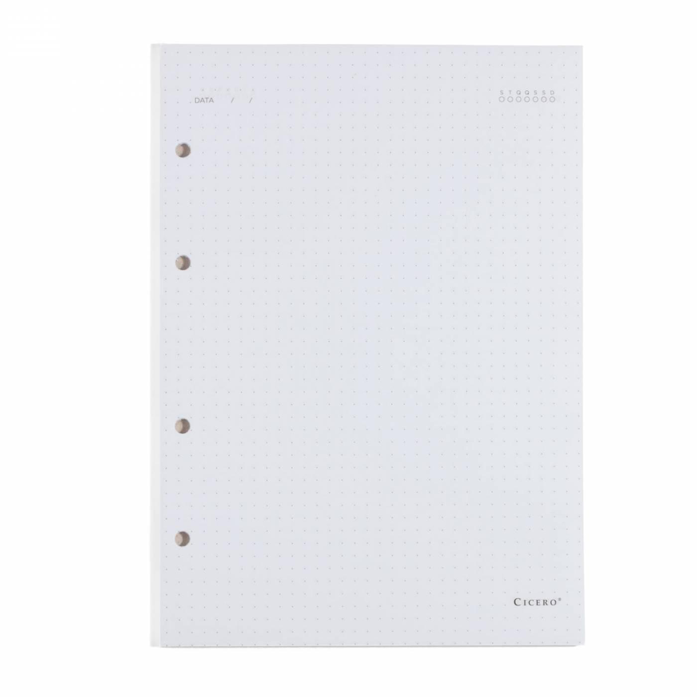 Refil Caderno Fichário Cicero Pontilhado Folha Branca 90gr