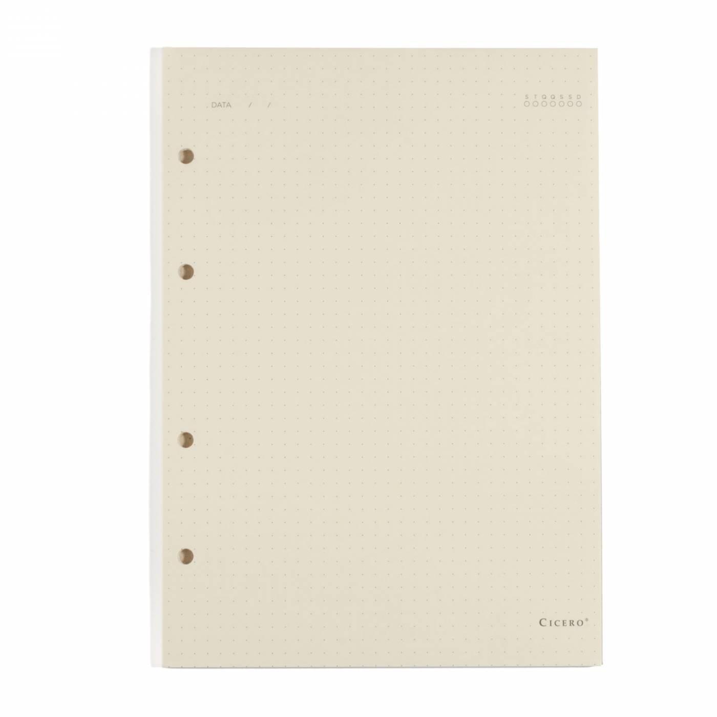 Refil Caderno Fichario Cicero Pontilhado Papel Polen