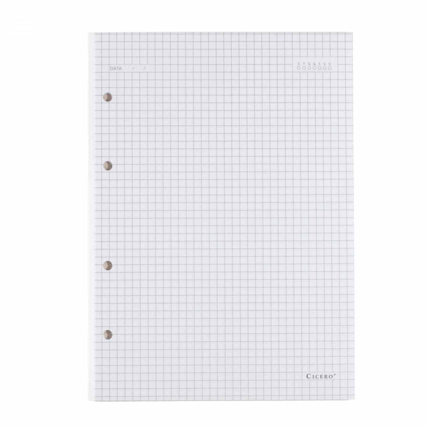 Refil Caderno Fichario Cicero Quadriculado Folha Branca 90gr