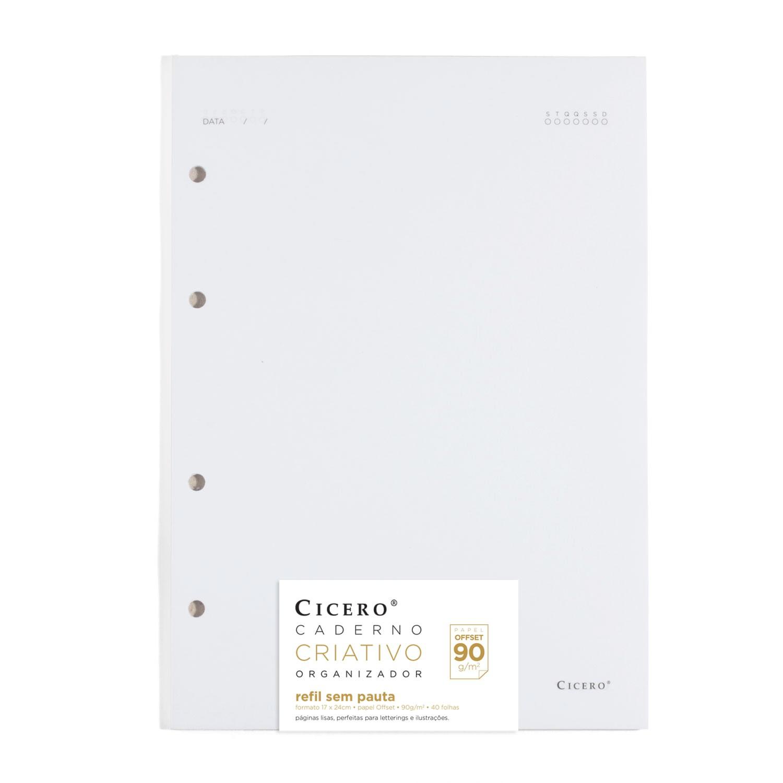 Refil Caderno Fichario Cicero Sem Pauta Folha Branca 90gr