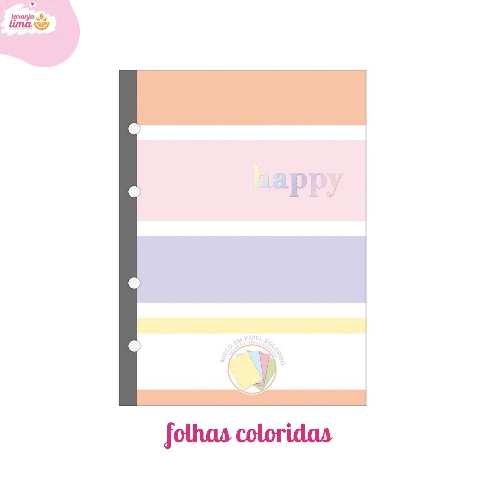 Refil Fichario Colegial Tilibra Happy Folhas Coloridas