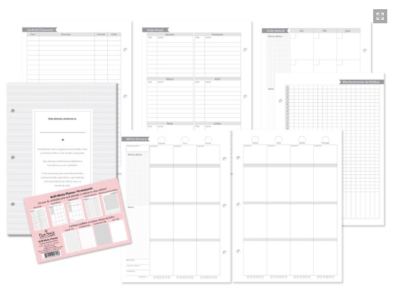 Refil Planner para Caderno Fichario Finaideia