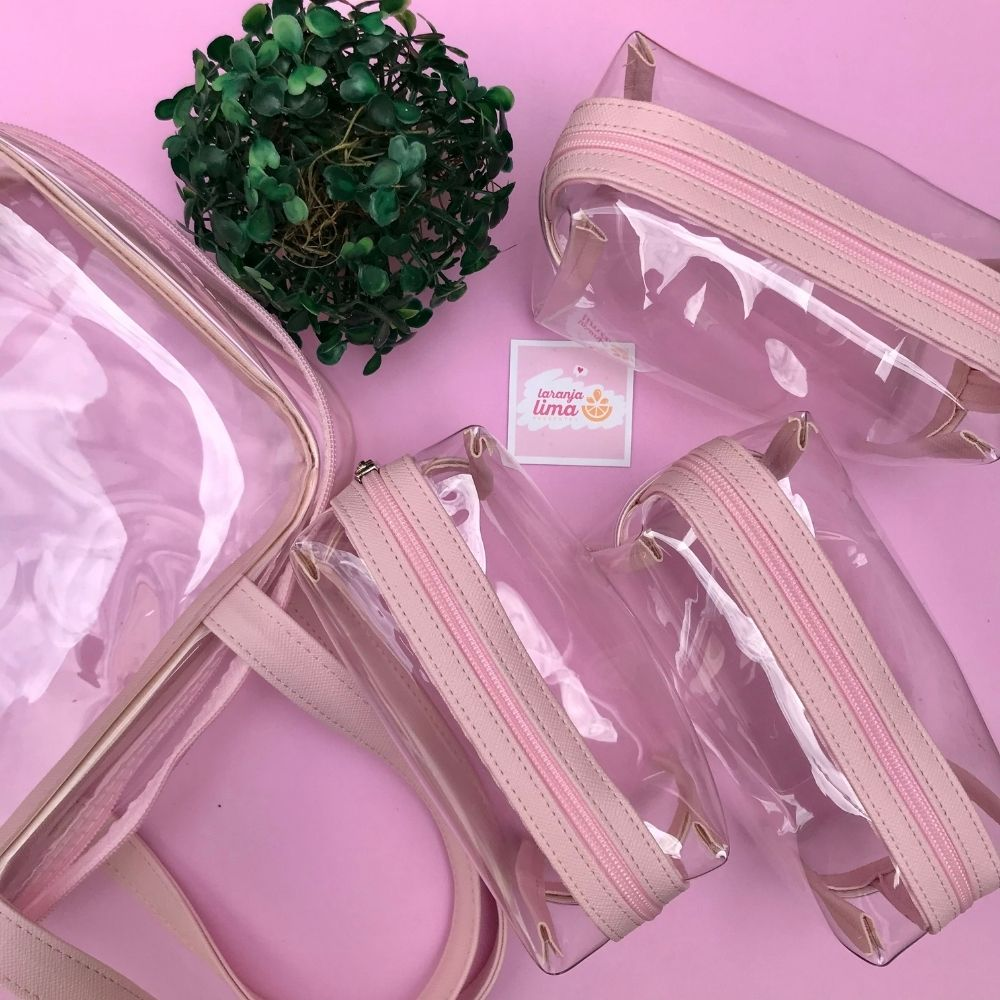 Smart Case Baú Cristal Fizz Rosa Maleta + 3 Estojos