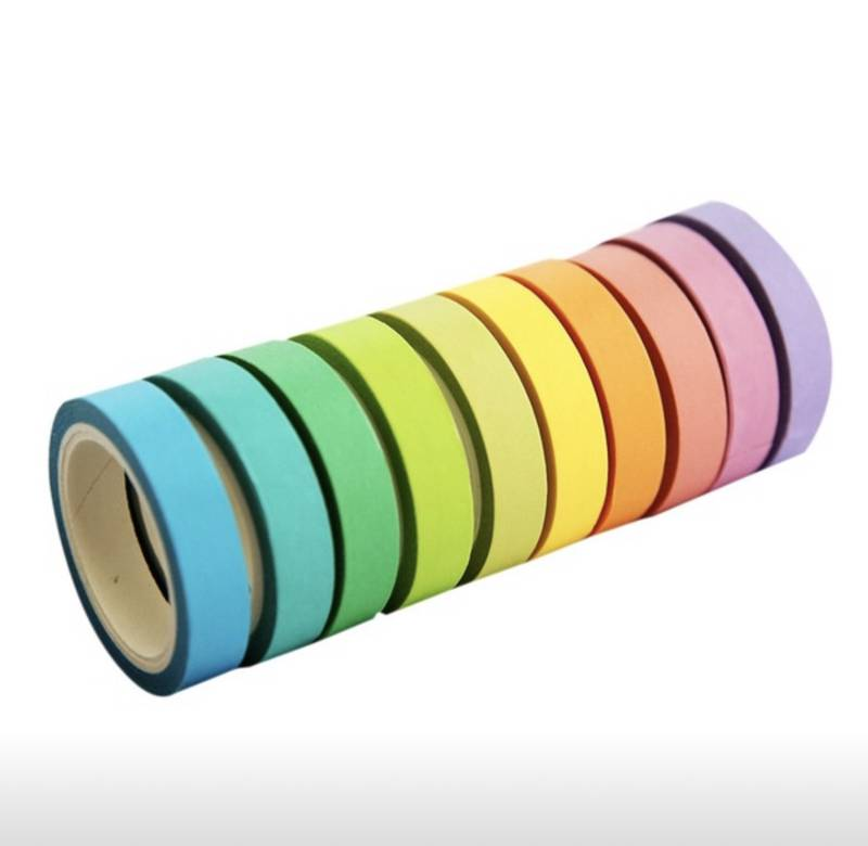Washi Tape Estreita Pastel Kit com 12
