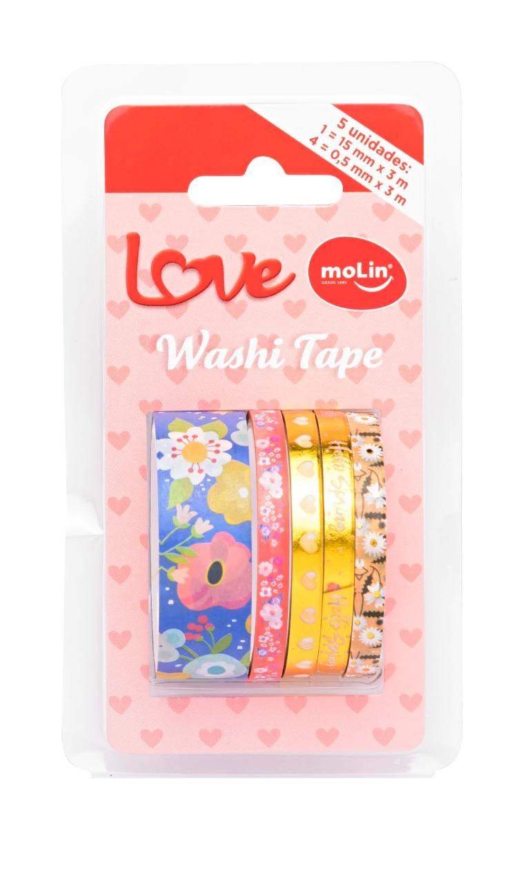 Washi Tape MOLIN Slim Love 5un Azul