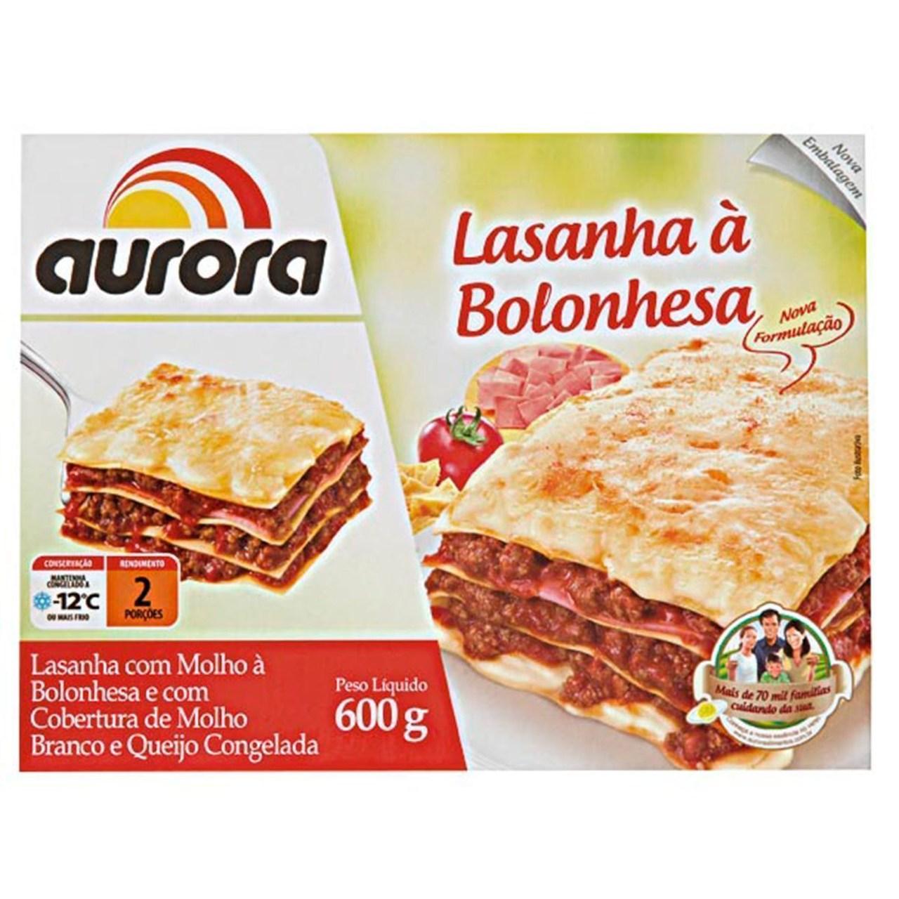 LASANHA BOLONHESA AURORA 600G  - JJPIVOTTO - Comercio de Frutas