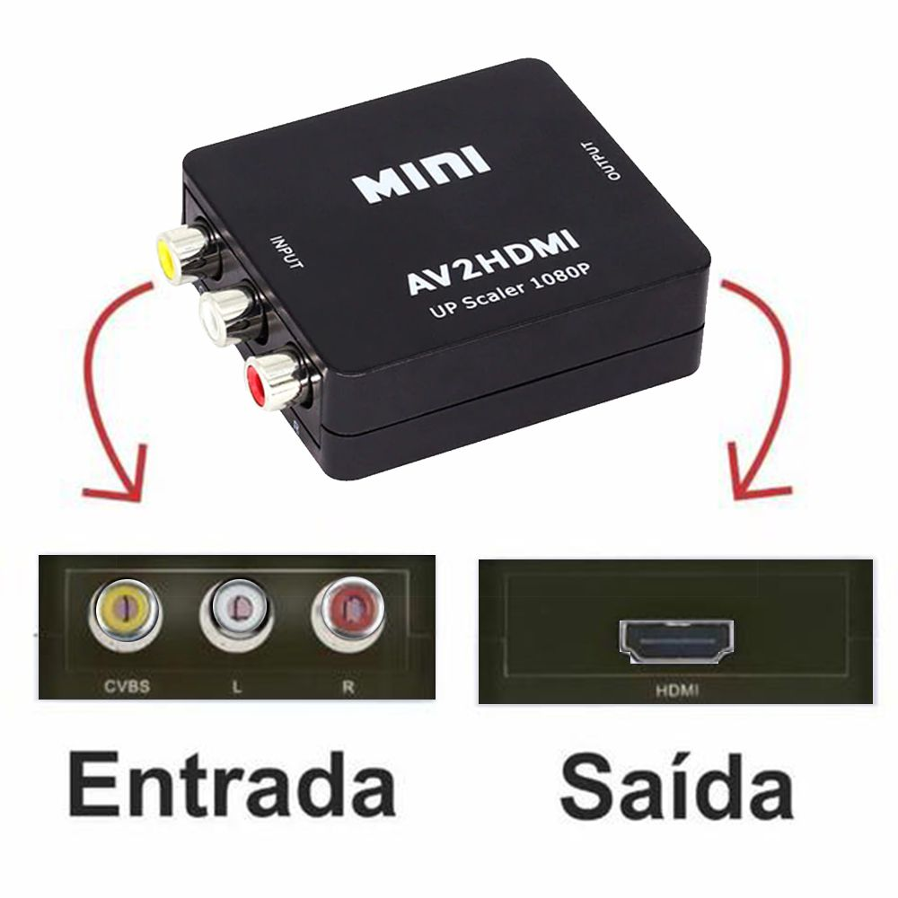 Conversor AV (RCA) para HDMI Full HD 1080p Mini
