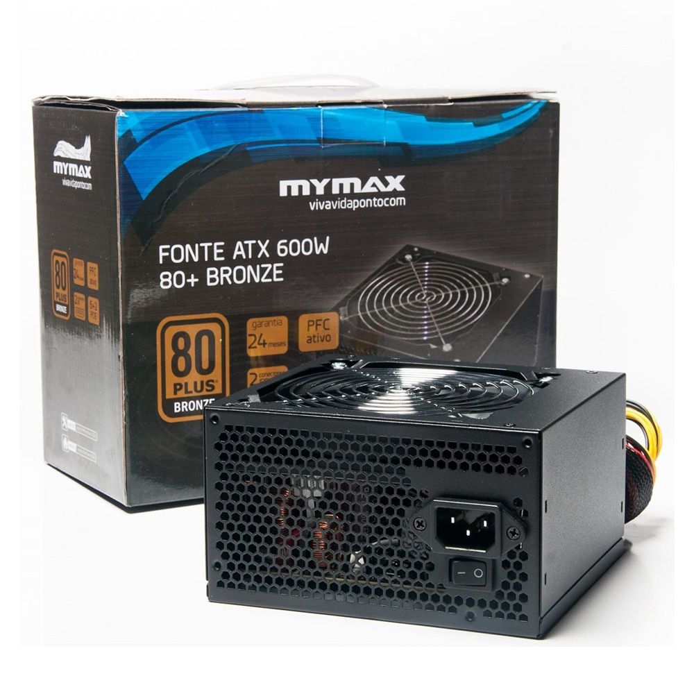 Fonte ATX Gamer PC 600W 80 Plus Bronze Mymax