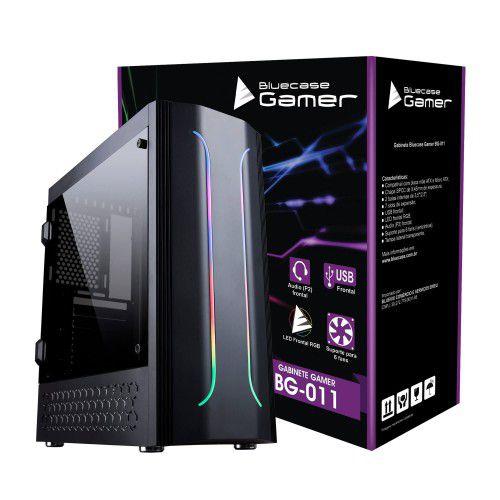 Gabinete Gamer BG-011 Preto Frontal Led RGB Bluecase