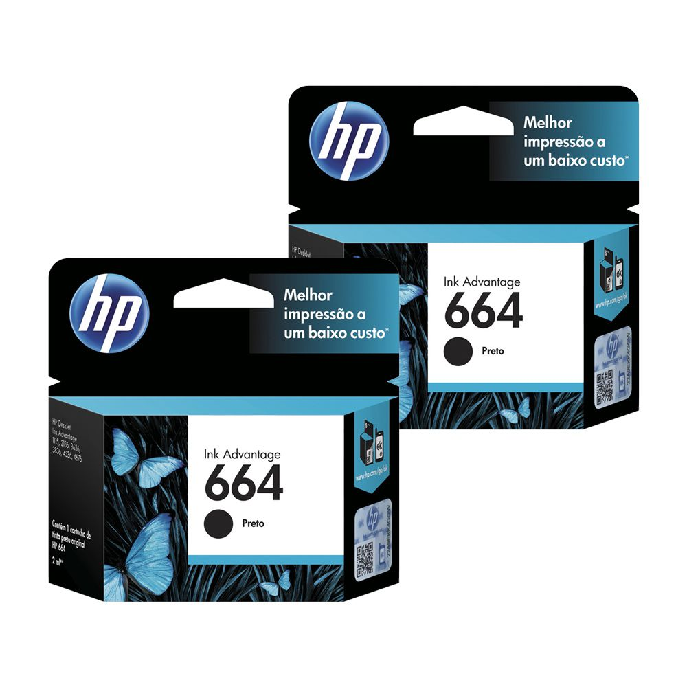 Kit 2 Cartuchos De Tinta Hp 664 Preto