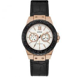 Relógio Feminino Guess Watches Pulseira de Couro Preto Fundo Branco