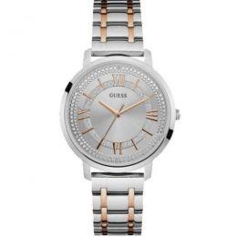 Relógio Feminino Guess Watches Pulseira de Aço Prata & Rose Gold Fundo Prata
