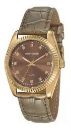 Relógio Feminino Mondaine Pulseira de Aço Inoxidável Dourado Fundo Prata 99175LPMVDR1
