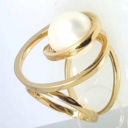 Anel GC 3D com Pérola Folheado a Ouro CR1537ANDR