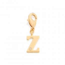 Pingente Berloque Letra Rommanel  zircônia 542394 folheado ouro