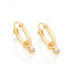 Brinco argola folheado a ouro com cristais rommanel 522959