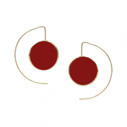 Brinco GC Botao Vermelho Couro Folheado a Ouro CR7633BRDR1