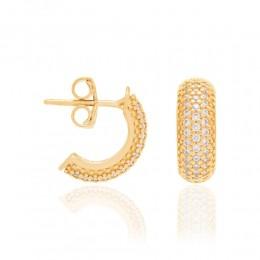 Brinco Rommanel  folheado a ouro com zircônias  524957