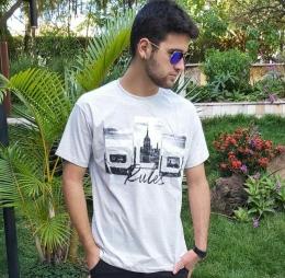 Camiseta Masculina Cinza Claro Manga Curta  700103