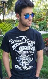 Camiseta Masculina Moto Preto Manga Curta  7001113