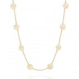 Cordão folheado a ouro com flores vazadas rommanel  531247 med. 50 cm