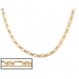 Cordão Rommanel 530094 elo alternado e laminado folheado a ouro 60cm
