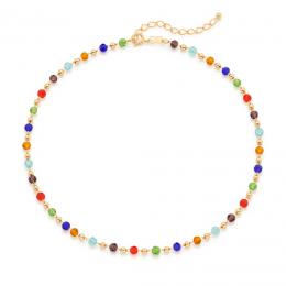 Gargantilha Rommanel com cristais e esferas redondas folheada a ouro 532095