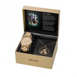Kit Relógio Feminino Seculus Aço Dourada Champagne e Pingente São Jorge 35019LPSKDA1K1