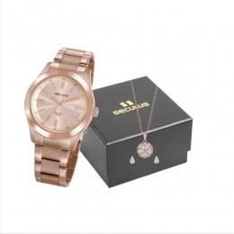 Kit Relógio Feminino Seculus Aço Rose Gold Rosa e Colar com Brincos