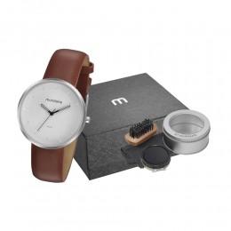 Kit Relógio Masculino Mondaine Pulseira de Couro Sintético Marrom Fundo Branco e Acessórios Engraxate