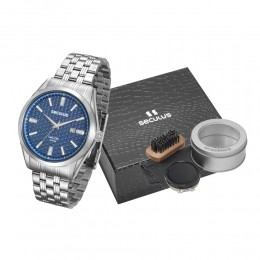 Kit Relógio Masculino Seculus Aço Prata Azul e Set para Engraxar