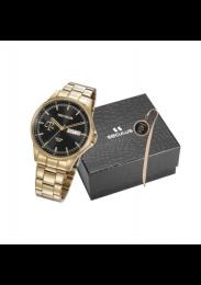 Kit Advogado Relógio Masculino Seculus Aço Dourada Preto e Pin Justiça 35013GPSKDA1K1