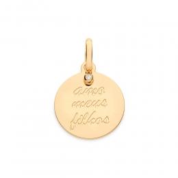 Medalha Amo Meus Filhos 542395 folheada a ouro