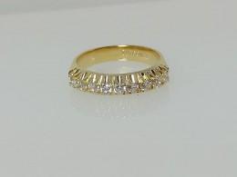 Meia Aliança com Zircônia Diamante GC Folheado a Ouro 0360605020225
