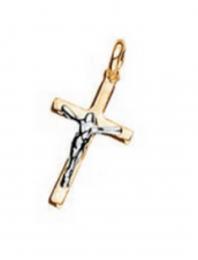 Pingente Rommanel 540819 cruz com cristo em rhodium med. 2,0 x 1,2 cm