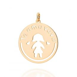 Pingente Feminino rommanel 542189 menina med. 3,0 x 2,5 cm