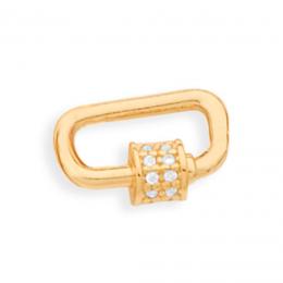 Pingente Rommanel Retangular 542403 com zircônias folheado a ouro